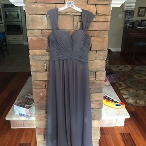 Bill Levkoff Pewter bridesmaid dress